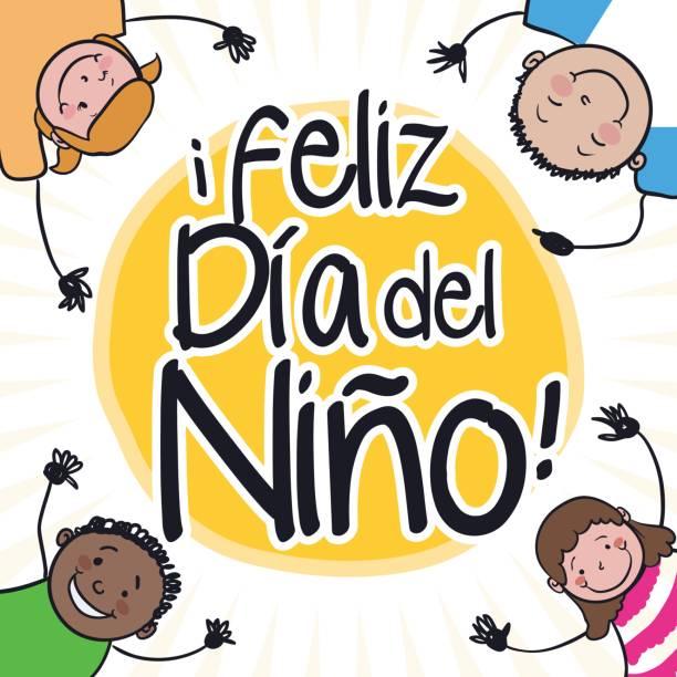 stockillustraties, clipart, cartoons en iconen met gelukkige kinderen met handen hoge up in children's day - kinderdag