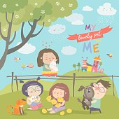 Happy children with pets on green meadow. Vector illustration