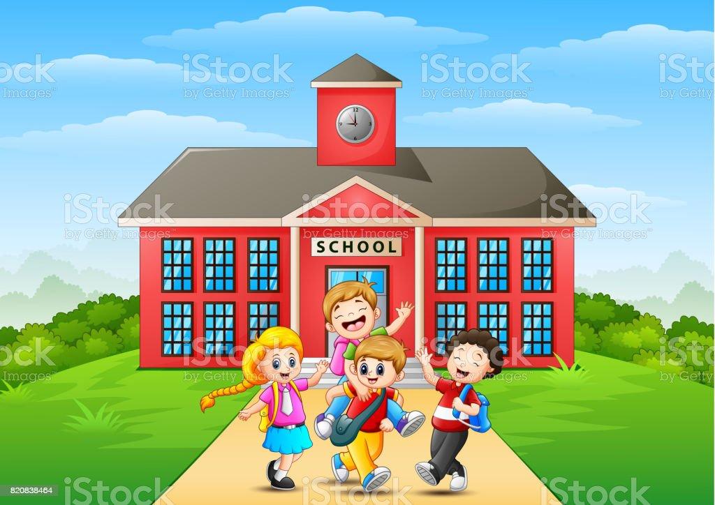 Imagenes De Edificios En Caricatura: Dessin Animé Pour Enfants Heureux Devant Le Bâtiment De