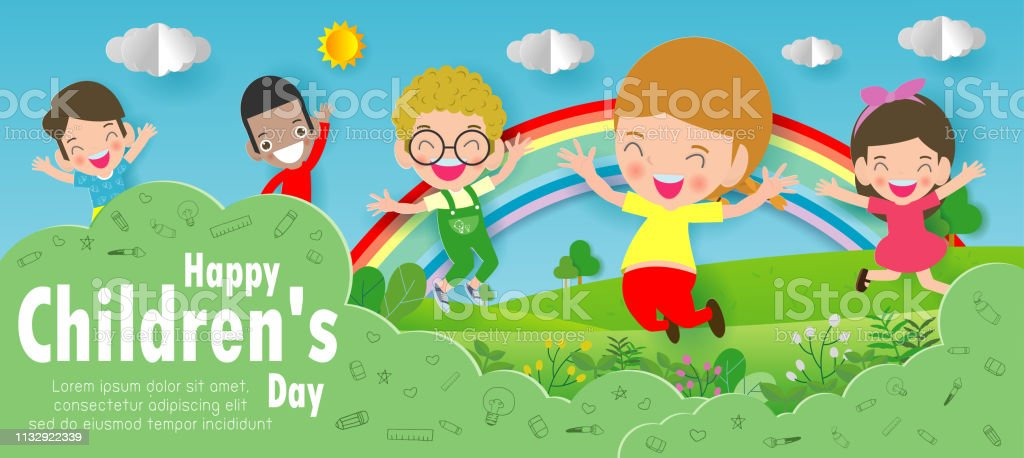 Happy Childrens Day Background Paper Cut And Craft Style Paper Art