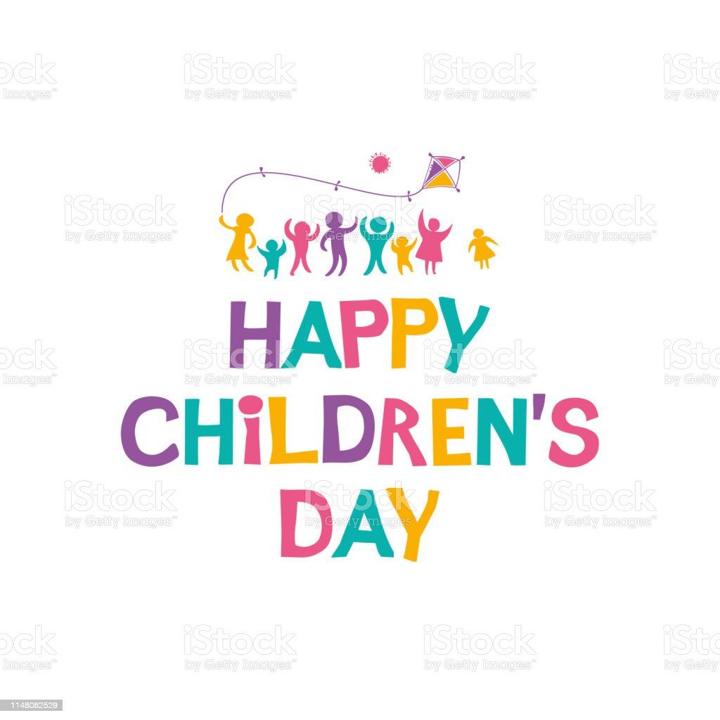 Gelukkige dag van de kinderen. Heldere veelkleurige platte ontwerp van sociale logo. - Royalty-free Baby vectorkunst