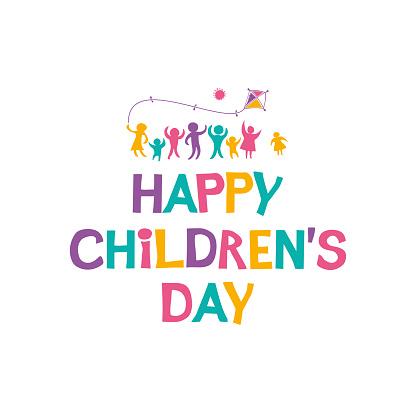 Gelukkige Dag Van De Kinderen Heldere Veelkleurige Platte Ontwerp Van Sociale Logo Stockvectorkunst en meer beelden van Baby
