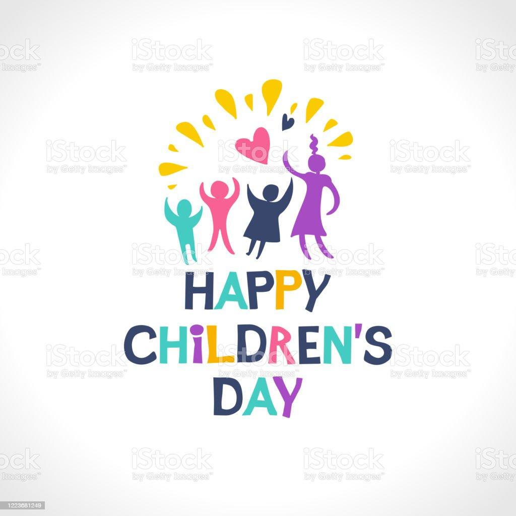 Fijne kinderdag. Helder veelkleurig vlak ontwerp van sociaal embleem. Kleurrijke silhouetten van het blije spelen de illustratie van kinderen aan de Internationale Dag van kinderen. - Royalty-free Baby vectorkunst