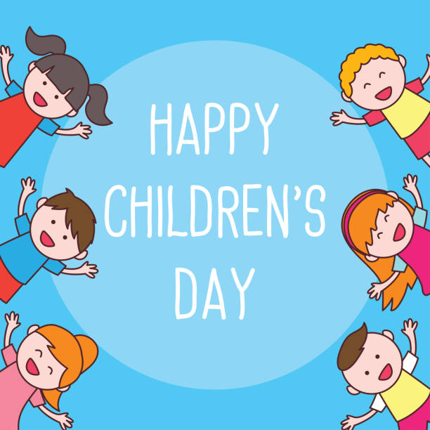stockillustraties, clipart, cartoons en iconen met de viering van de dag van de gelukkige kinderen. vectorillustratie - kinderdag