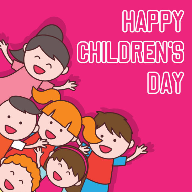 stockillustraties, clipart, cartoons en iconen met gelukkige dag van de kinderen viering. vector illustratie - kinderdag