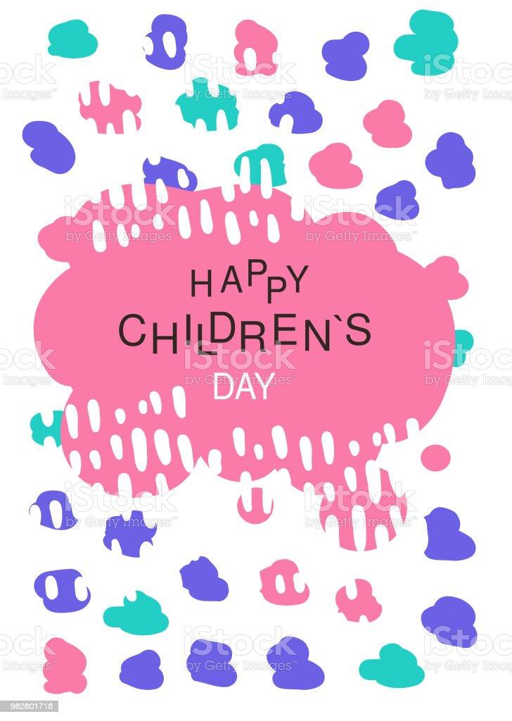 Ilustración De Día De Los Niños Felices Colorido Plantilla