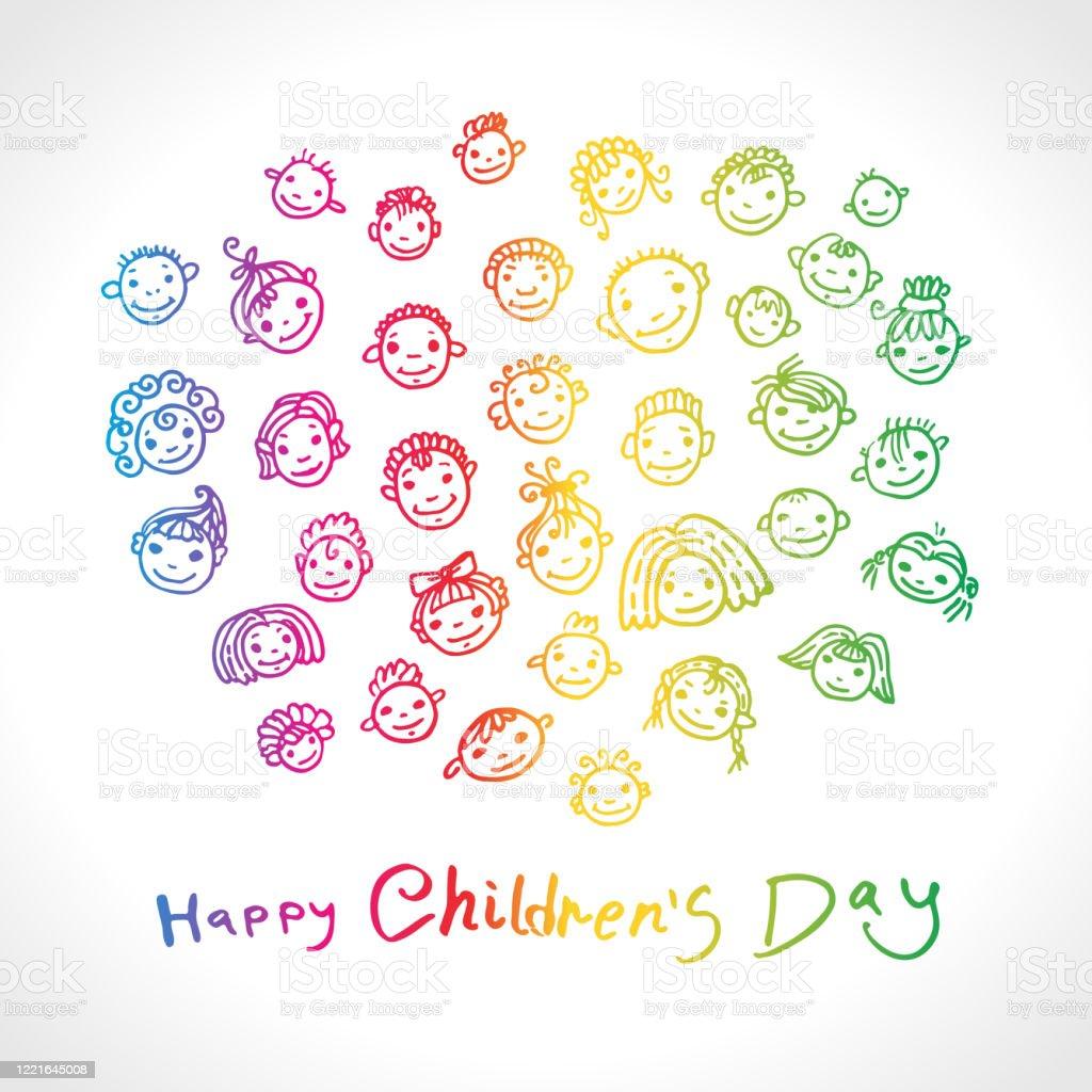 Fijne kinderdag. Dag voor de bescherming van kinderen. Helder regenboogkleurenembleem. Vectorillustratie. Reeks doodle glimlachende babygezichten. Hand tekenen marker kunst. - Royalty-free Abstract vectorkunst