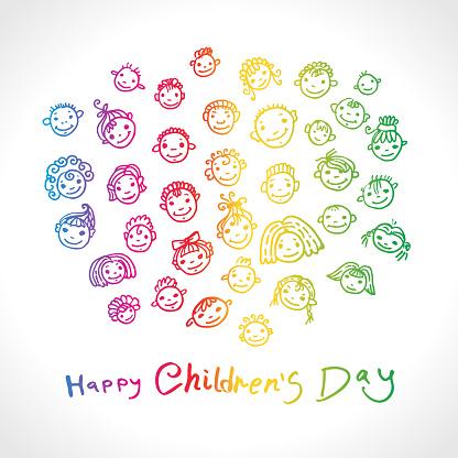 Fijne Kinderdag Dag Voor De Bescherming Van Kinderen Helder Regenboogkleurenembleem Vectorillustratie Reeks Doodle Glimlachende Babygezichten Hand Tekenen Marker Kunst Stockvectorkunst en meer beelden van Abstract