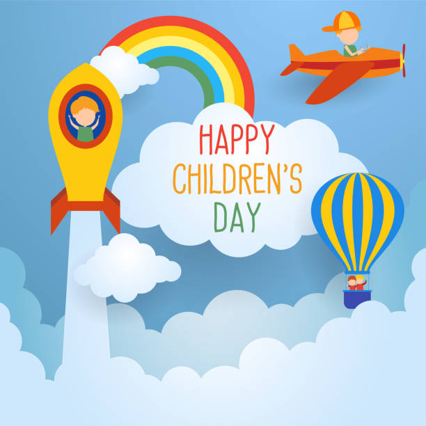 ilustrações, clipart, desenhos animados e ícones de dia de crianças feliz para a celebração das crianças ilustração stock - dia das crianças