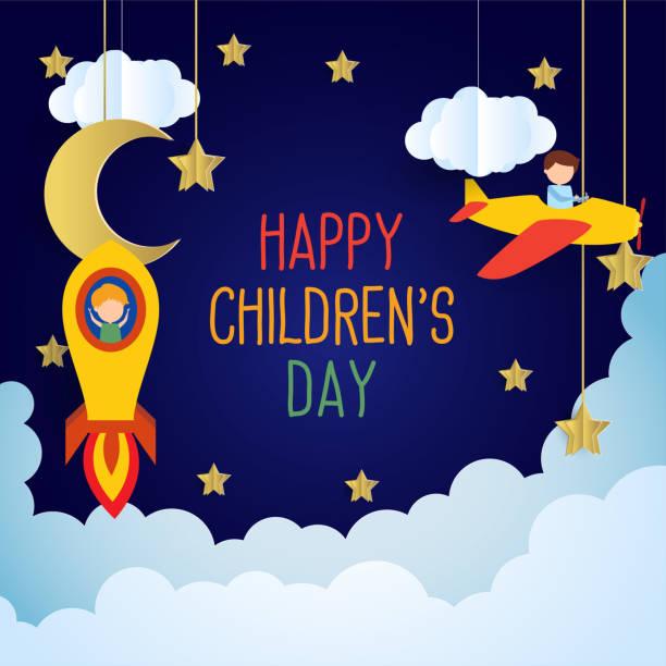 stockillustraties, clipart, cartoons en iconen met gelukkige kinder dag voor kinderen viering voorraad illustratie - kinderdag