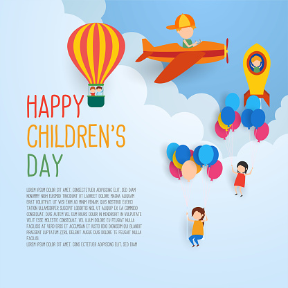 Happy children's day for children celebration stock illustration clipart