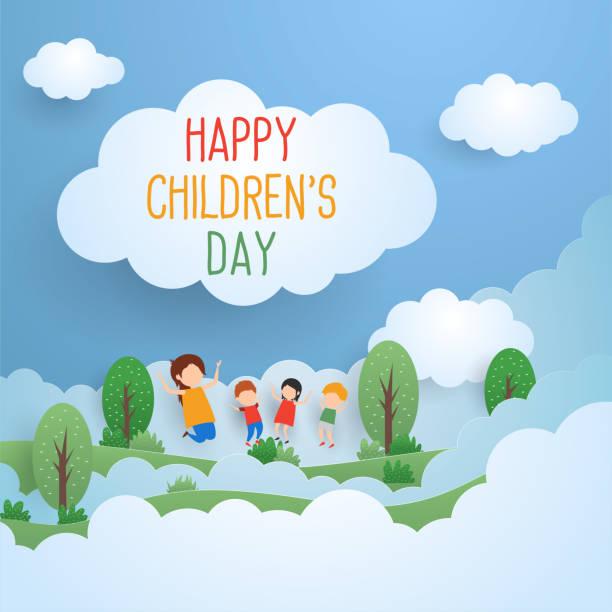 stockillustraties, clipart, cartoons en iconen met dag van de gelukkige kinderen voor kinderen-feest - kinderdag