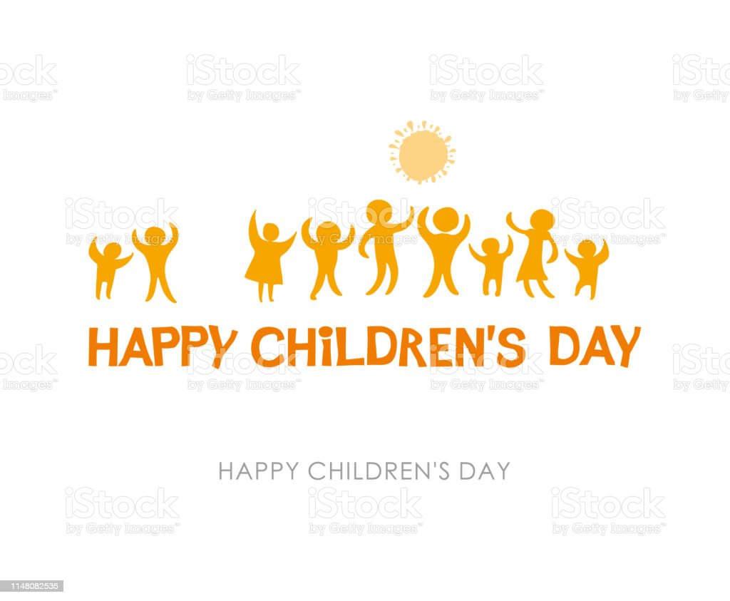 Gelukkige dag van de kinderen. Zonnige gele platte ontwerp van sociale logo. Silhouetten van vrolijke spelende kinderen illustratie aan de dag van de kinderen. - Royalty-free Baby vectorkunst