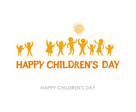 Gelukkige Dag Van De Kinderen Zonnige Gele Platte Ontwerp Van Sociale Logo Silhouetten Van Vrolijke Spelende Kinderen Illustratie Aan De Dag Van De Kinderen Stockvectorkunst en meer beelden van Baby