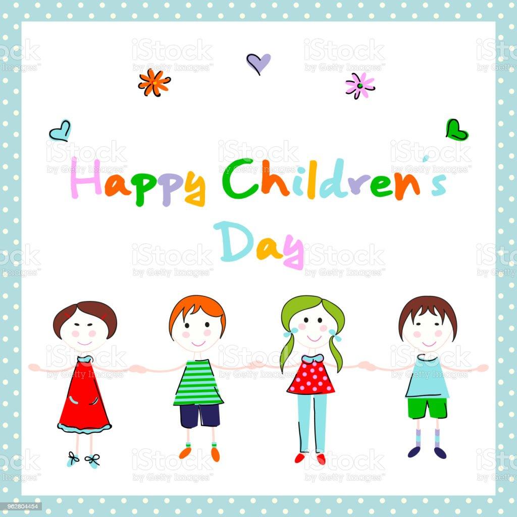 Happy children's day vector background design - arte vettoriale royalty-free di Adolescente