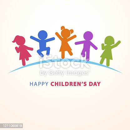 Celebrate Children's Day with multi colored five kids silhouettes dancing, jumping and running on the blue ground