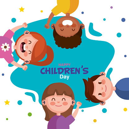 Happy childrens day with boys and girls cartoons vector design
