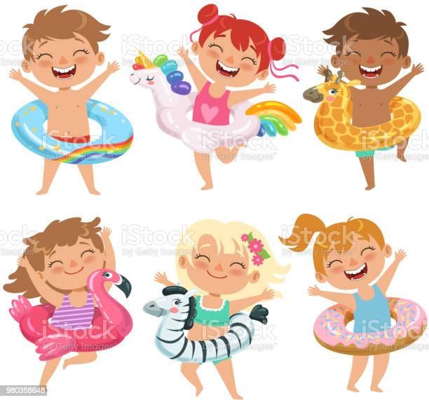Happy childrens dressed in rubber circles playing games in water park vector id980358648?b=1&k=6&m=980358648&s=612x612&h=veljb580mp1p4tacpzal4f1alvi7kqvsxuf az1pfaa=