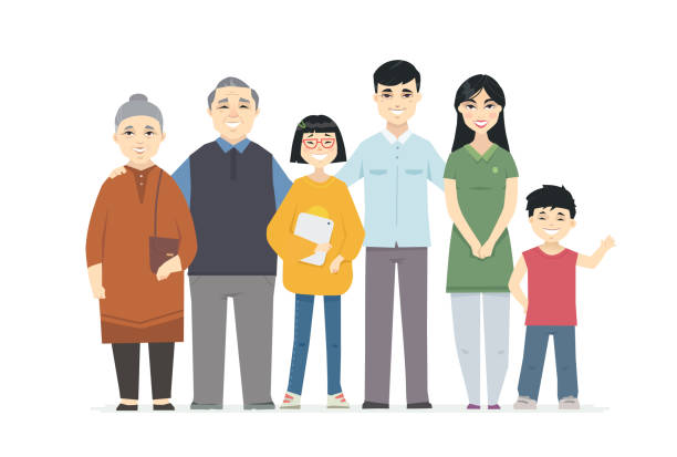Happy Chinese family - cartoon people characters illustration Happy Chinese family - cartoon people characters illustration on white background. High quality composition with cheerful parents standing with their teenage daughter and son, grandparents asian woman stock illustrations