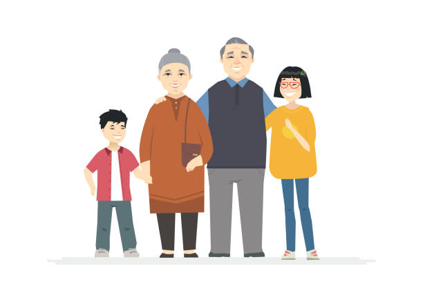 happy chinese grandparents - cartoon people characters illustration - old man smiling backgrounds stock illustrations, clip art, cartoons, & icons