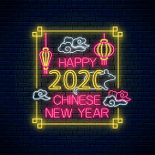 Happy Chinese New 2020 Year of white rat greeting card design in neon style. Chinese sign for banner, flyer, invitation with white rat, lanterns and rectangle frame. Vector illustration