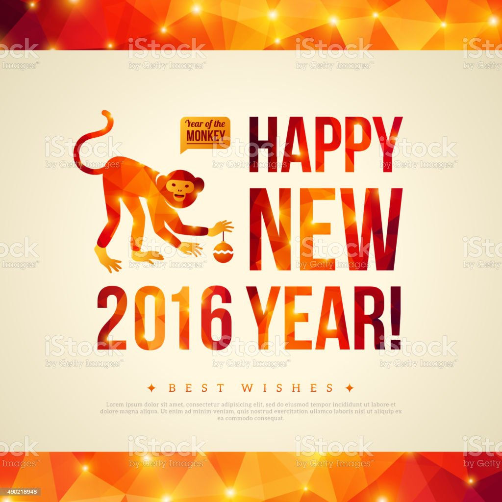 Happy Chinese New Year 2016 Greeting Card Year Of Monkey Stock
