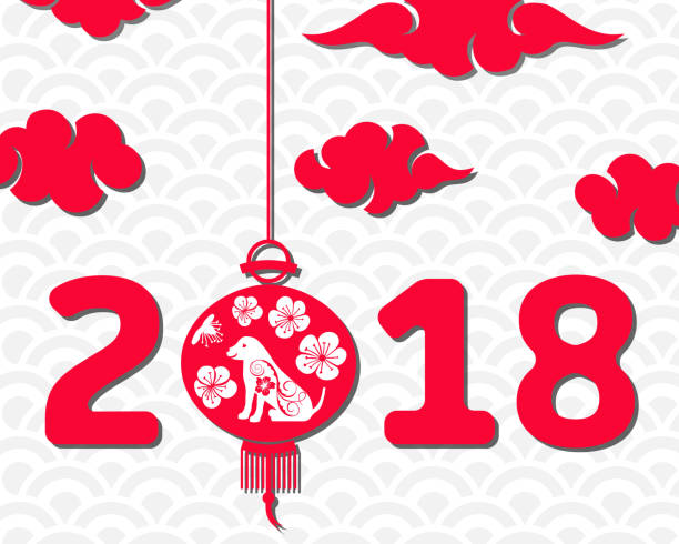 happy chinese new year 2018 card year of dog asian banner vector art illustration
