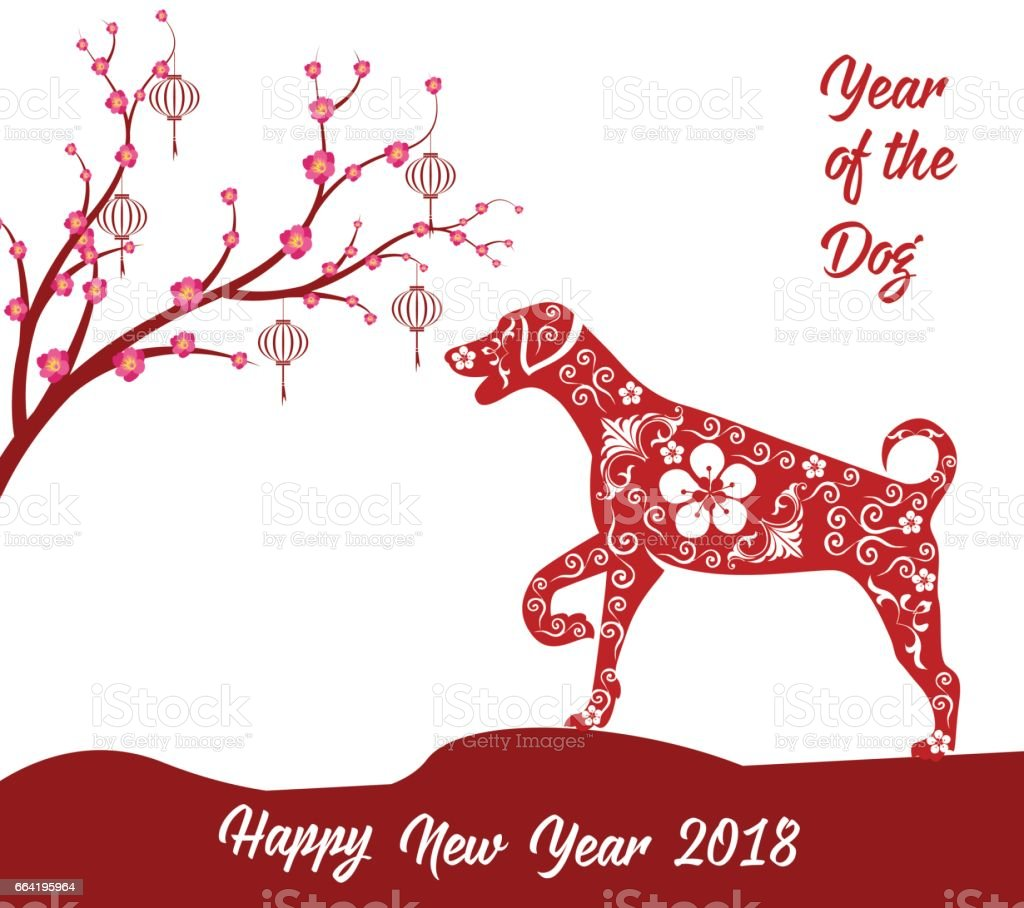 happy chinese new year 2018 card year of dog stock vector art more rh istockphoto com
