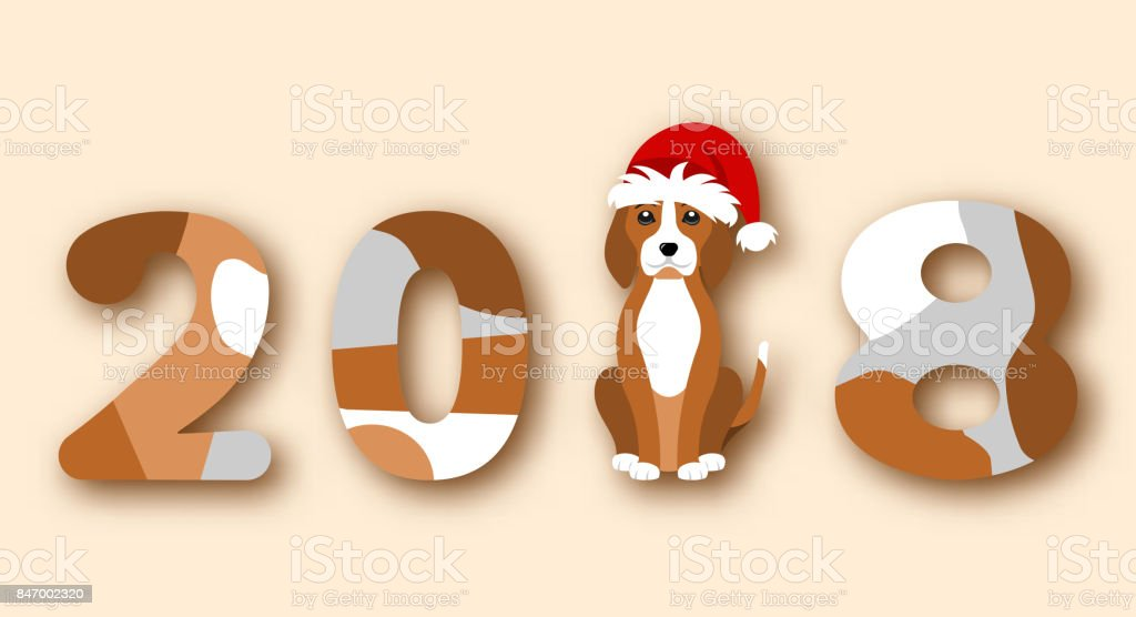 happy chinese new year 2018 dog in santa hat royalty free happy chinese new