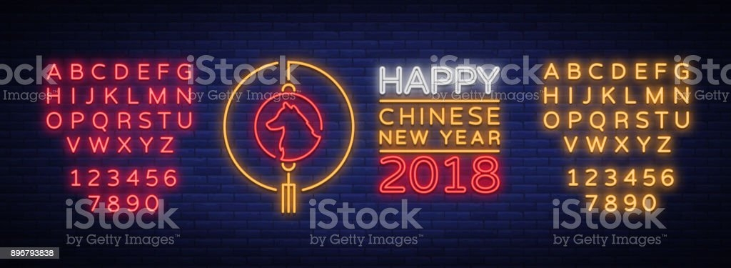 Happy Chinese New Year 2018 Plakat In Neonstil Vektorillustration ...