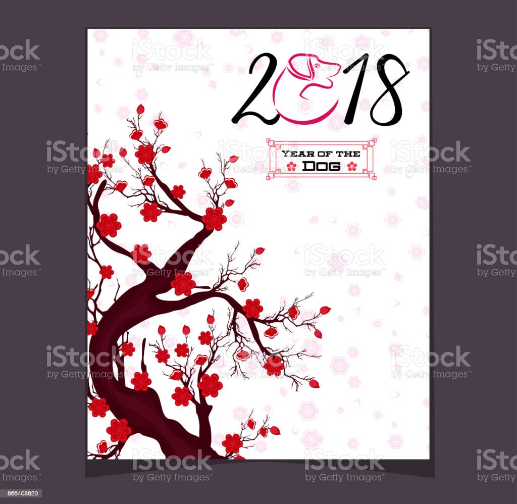 Happy Chinese New Year 2018 Jahr Des Hundes Mondneujahr Stock Vektor ...
