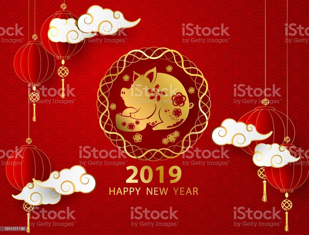 Frohes Neues Jahr 2019 Banner Karte Schwein Gold Vektorgrafik Und ...