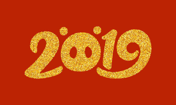 happy chinese new year 2019 card design with gold number and zodiac sign of pig on red background. typography text for asian style banner design. vector illustration - year of the pig stock illustrations, clip art, cartoons, & icons