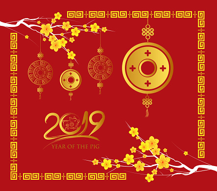 Happy Chinese New Year 2019 Card Gold Coin Year Of The Pig Stock Illustration - Download Image Now