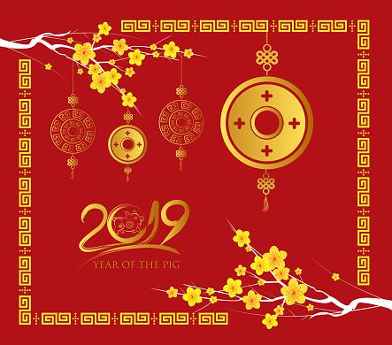 幸せな中国の旧正月 2019 カードゴールド コインブタの年 - 2019年のベクターアート素材や画像を多数ご用意