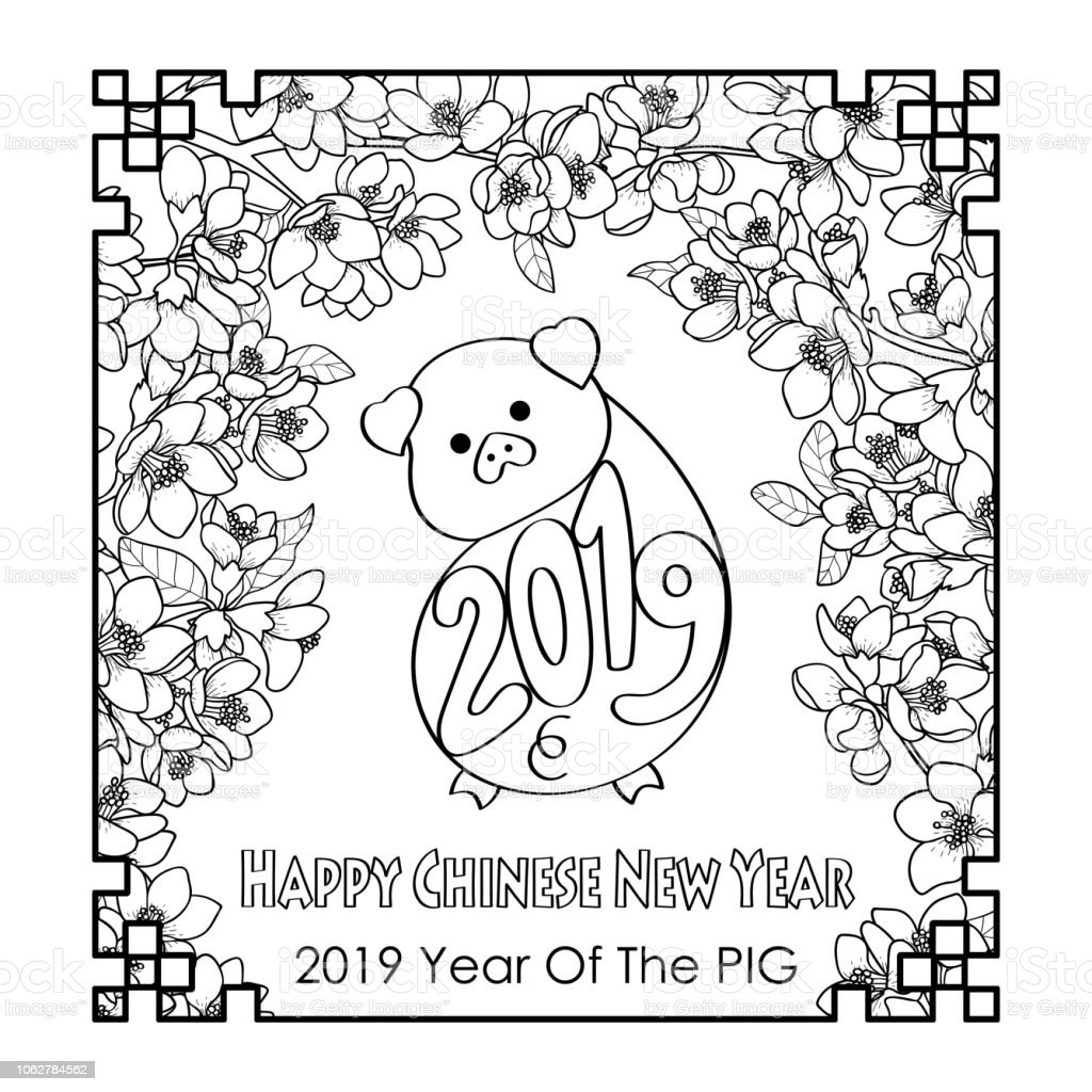 Happy chinese new year 2019 card with pig royalty free happy chinese new year 2019