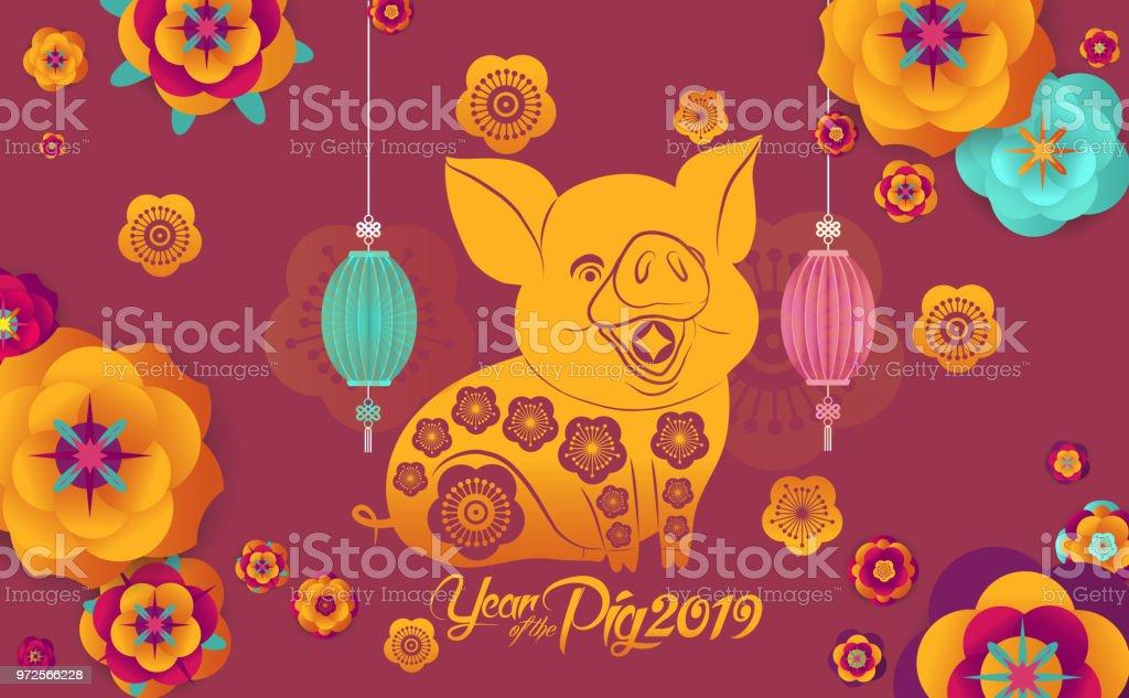 Happy Chinese New Year 2019 Design Niedliche Schwein Glückliches ...