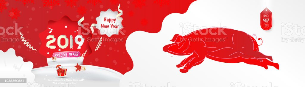 happy chinese new year 2019 postcard with red pig zodiac sign and with label banner