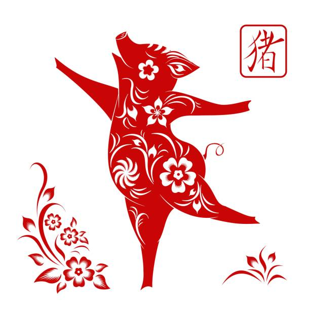 happy chinese new year 2019 sign  zodiac pig cut  red paper - year of the pig stock illustrations, clip art, cartoons, & icons