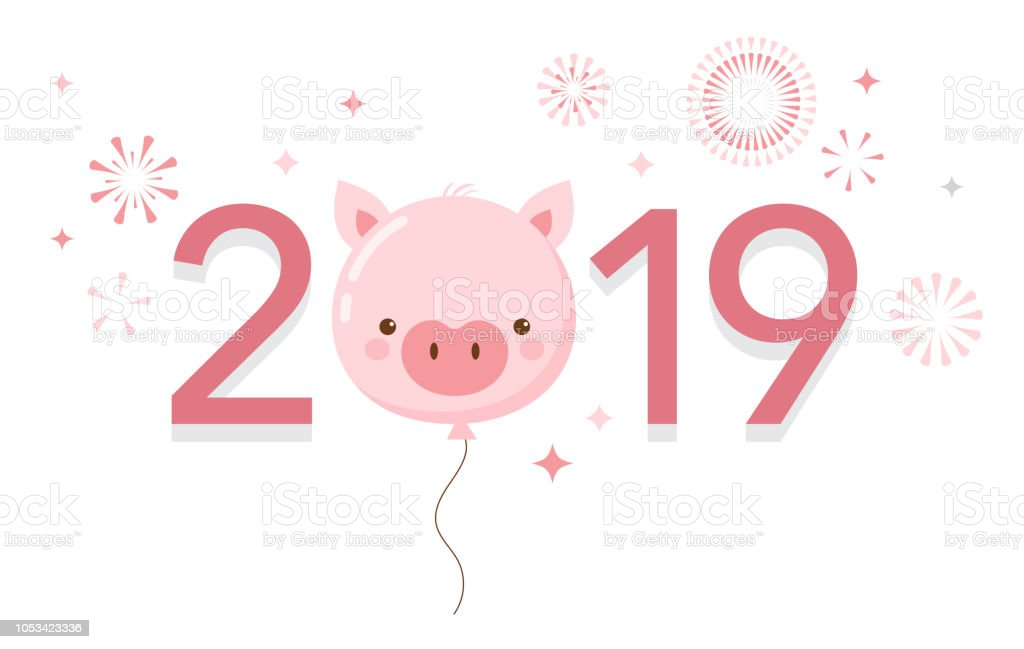 happy chinese new year 2019 the year of pig vector banner background royalty