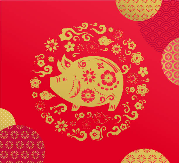 happy chinese new year 2019, the year of pig. vector banner, background - year of the pig stock illustrations, clip art, cartoons, & icons