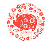 Happy Chinese new year 2019, the year of pig. Vector banner, background template