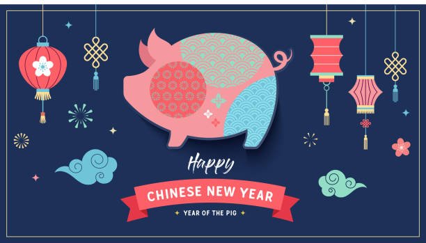 happy chinese new year 2019, the year of pig. vector banner - year of the pig stock illustrations, clip art, cartoons, & icons