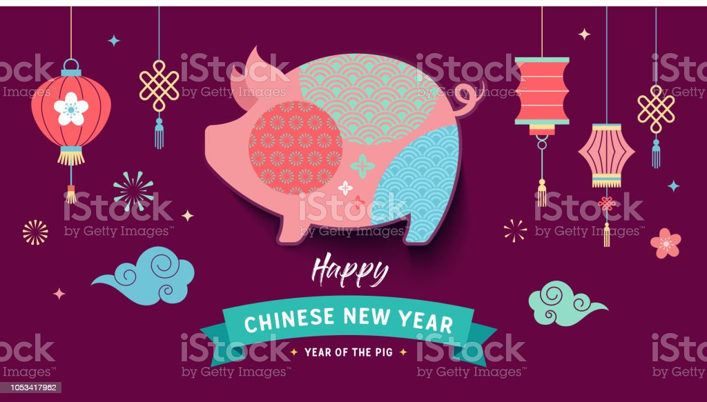 happy chinese new year 2019 the year of pig vector banner royalty free