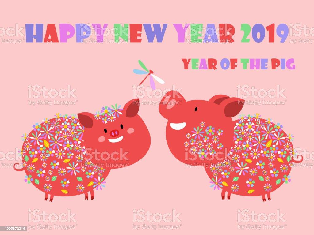 Joyeux Nouvel An Chinois 2019 Annee Du Cochon Annee Signe Du