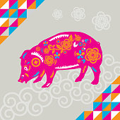 Vector of Happy Chinese New Year 2019, year of the pig paper cut style. EPS Ai 10 file format.