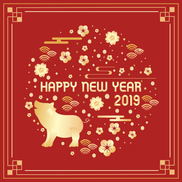 happy chinese new year 2019 year of the pig - year of the pig stock illustrations, clip art, cartoons, & icons