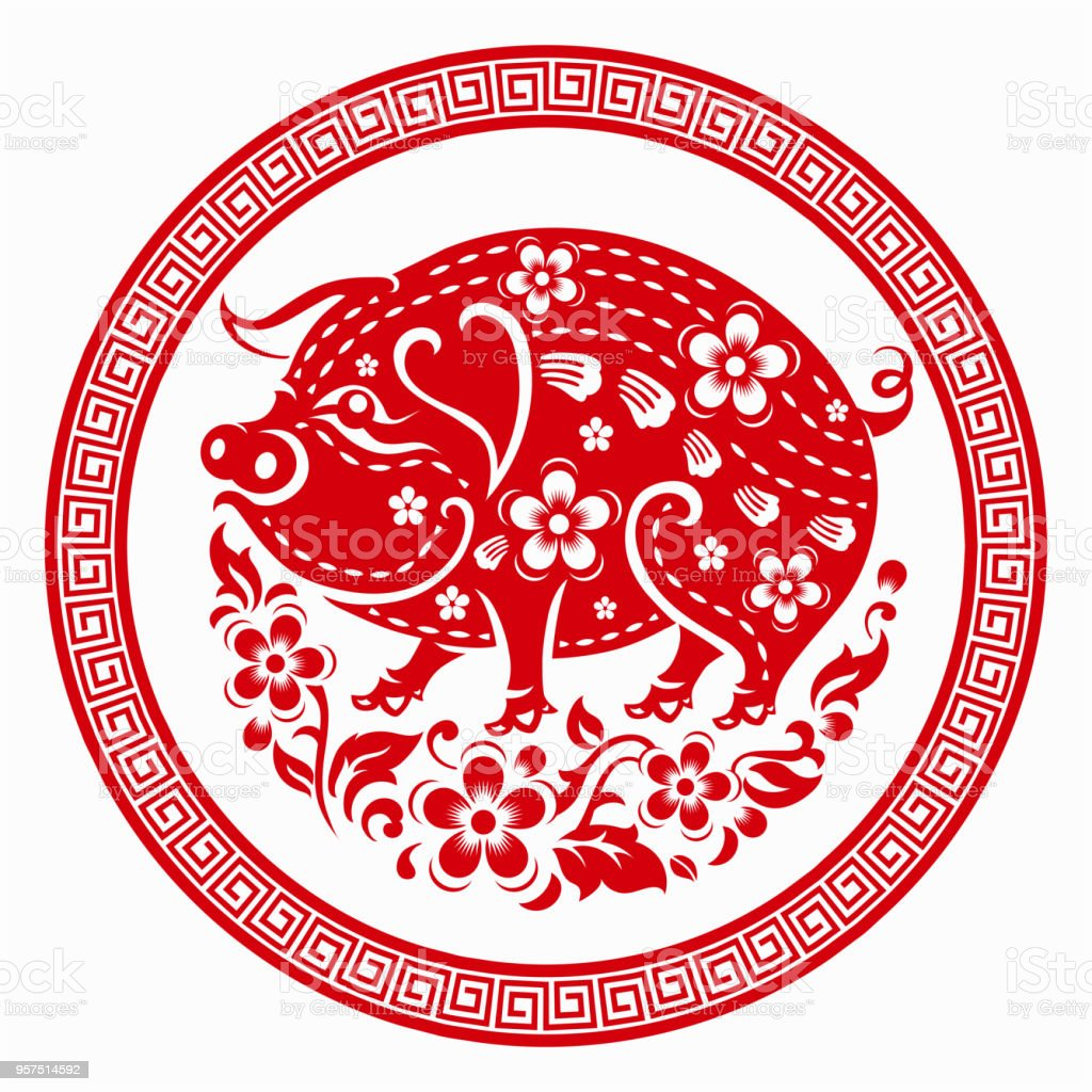 Chinese Calendar Year Zero : 快樂的中國新年 生肖星座年的豬用紅紙切割藝術和工藝風格的色彩背景 向量插圖及更多 圖片