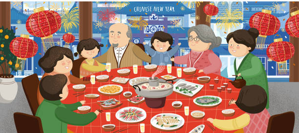 Happy Chinese New Year 2020. An Asian family (mother, father, grandmother, grandfather and children) sits at a table and celebrates a holiday. Vector illustration for background, card or banner. vector art illustration