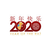 istock Happy Chinese New Year 2020 colorful vector Text isolated on white background. 1196110362